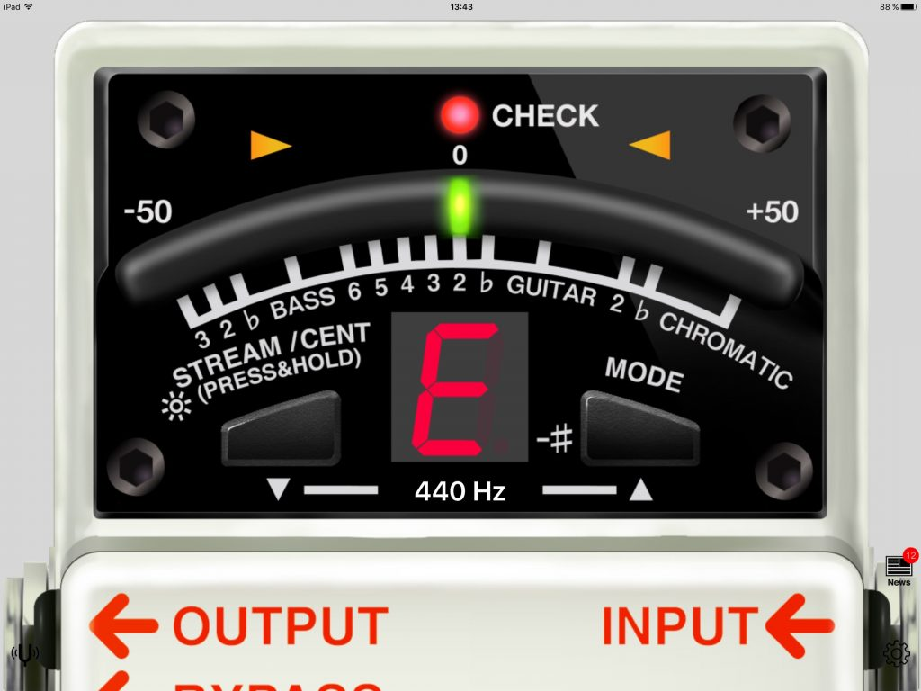 BOSS Tuner - a foot-pedal tuner in an app format.