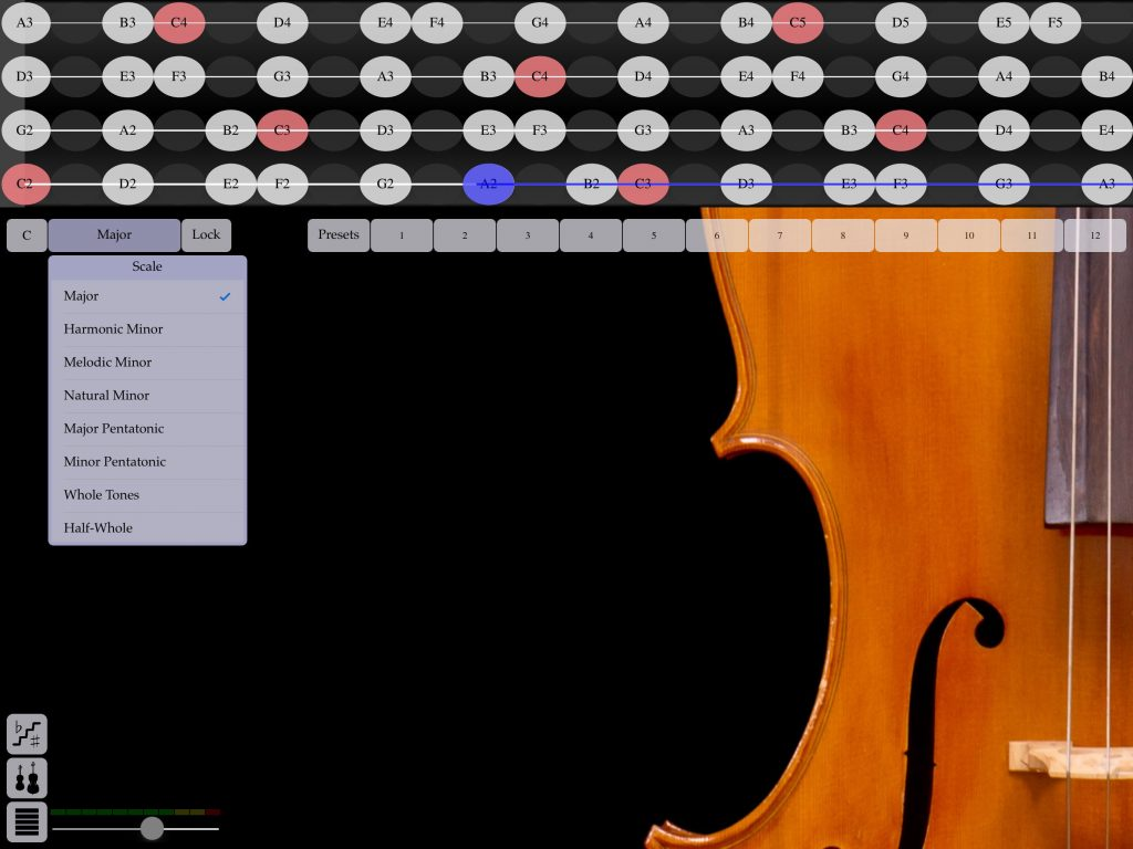 FingerFiddle - now with options to set the scale of highlighted notes in the fingerboard display.