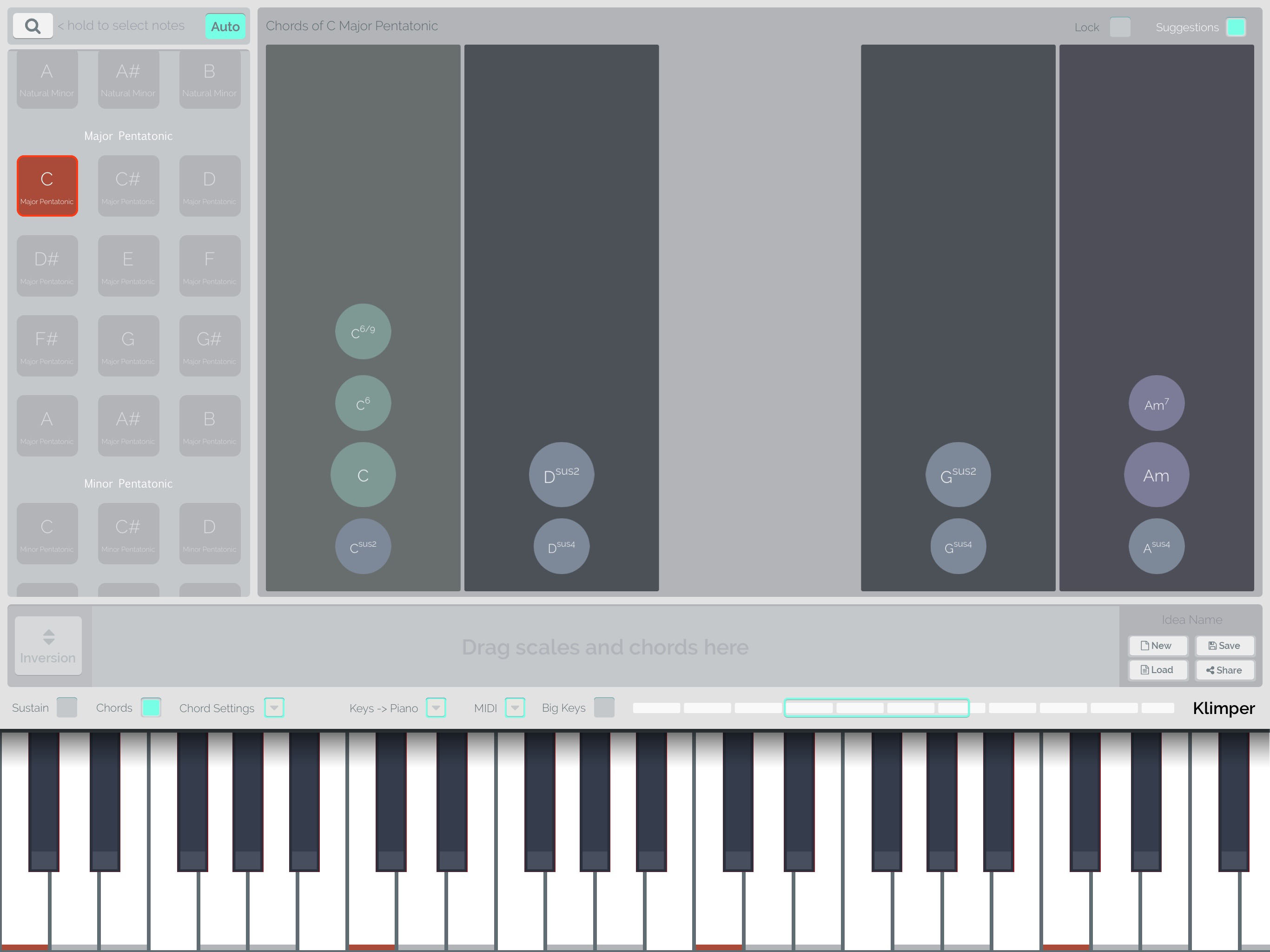 Klimper review songwriting tool with an educational twist from with simpler scales such as the major pentatonic selected here the range of suitable hexwebz Choice Image