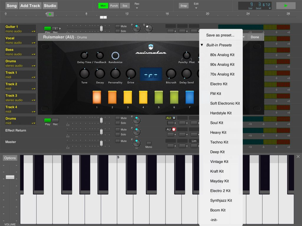 MultitrackStudio for iPad now supports the presets system for Audio Unit (AU) apps.