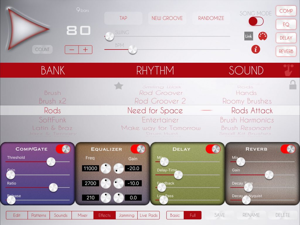 Soft Drummer features all the usual options offered by other apps in the Luis Martinez catalogue including, as shown here, the effects section.