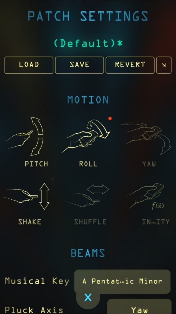 The Patch button allows you to access the full range of configuration options within the app.