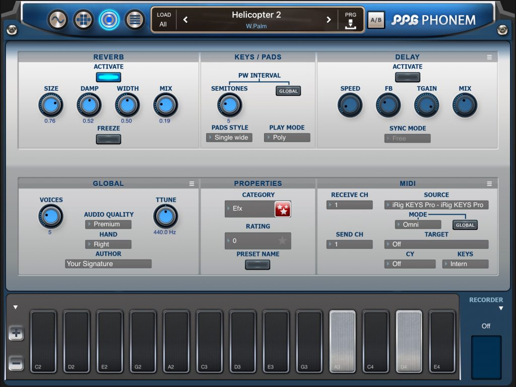 The app includes effects options and a sophisticated MIDI spec for external control.