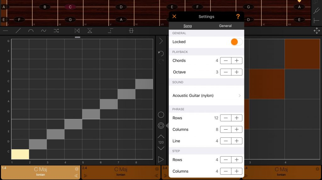 The Song Settings allow you to define the sizes of the two matrix grids, the number of chords and the position of the 'Line'.