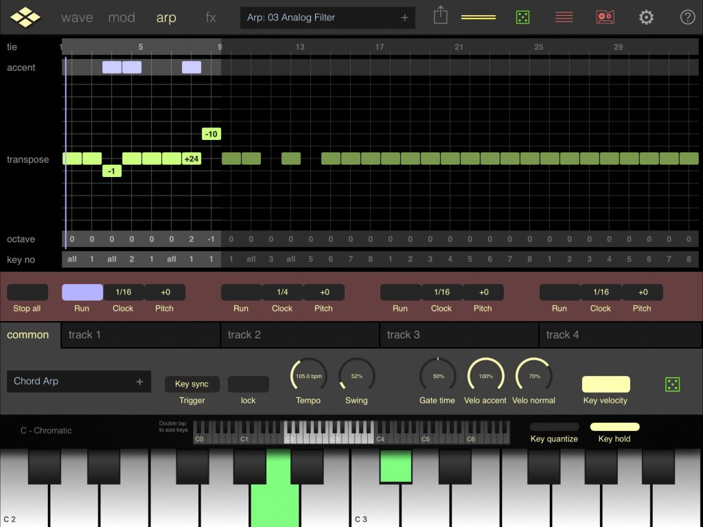 Addictive Pro's arpeggiator can now follow tempo set by other apps.....