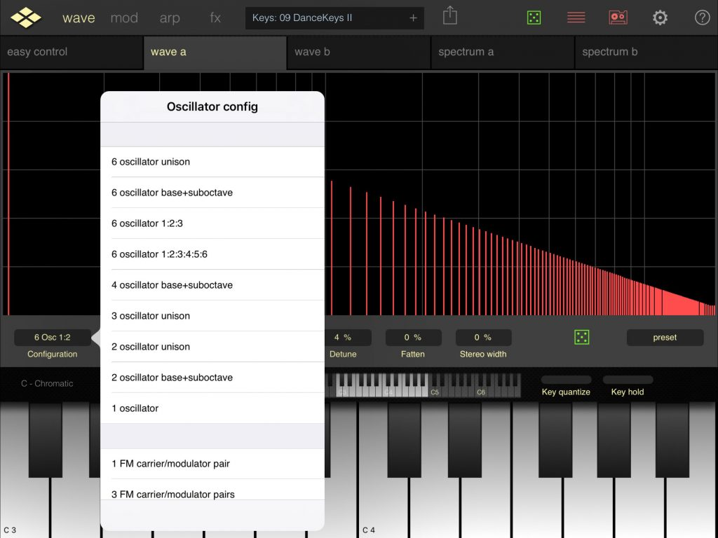 Addictive Pro comes with a number of pre-configured oscillator options.