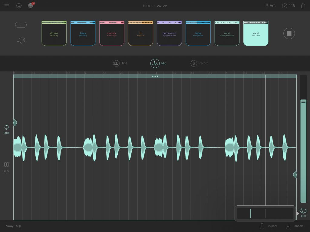 Blocs Wave now includes the ability to pan your sounds across the stereo field...  see the pan control located bottom-right.