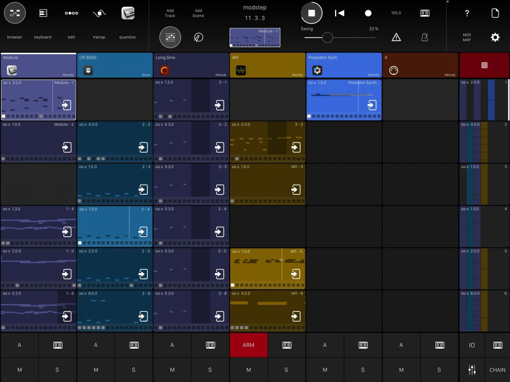 Modstep - a powerful MIDI sequencing environment for iOS.