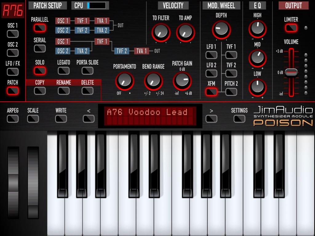 The Patch screen provides access to a whole range of additional synth engine settings.