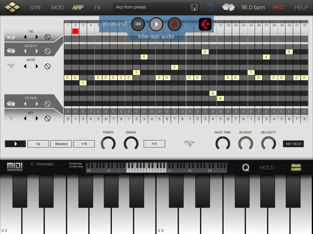The app now also includes IAA-based tempo sync and this worked well for me in testing via Cubasis.