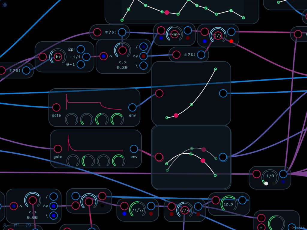 The combination of programming options is pretty much endless given the huge selection of modules on offer in Audulus.