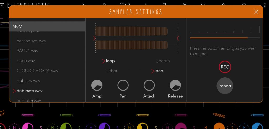 The Sampler Settings panel allows you to select, import record and - in basic ways at least - edit the samples associated with each of the seven fluXpad instruments in your project.