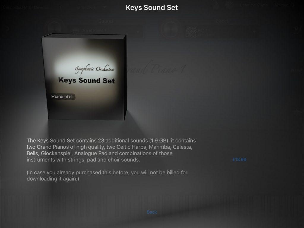 The new 'Keys' IAP adds a range of keyboard-based instruments to the iSymphonic sound options.