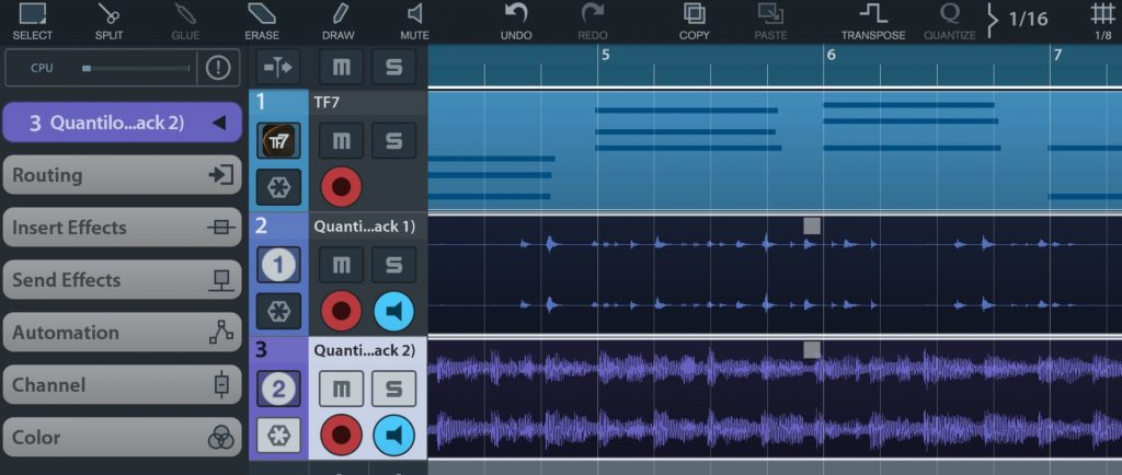 The app worked pretty well within both Audiobus (as shown here with Cubasis) and via IAA.