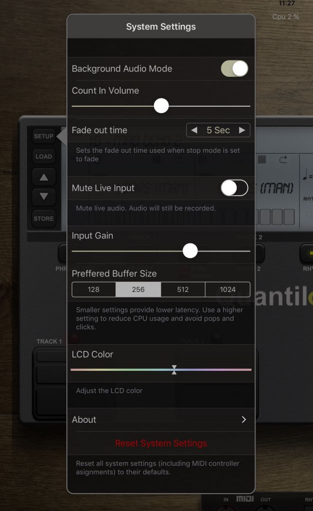 Quantiloop offers a range of options amongst its main settings menu.
