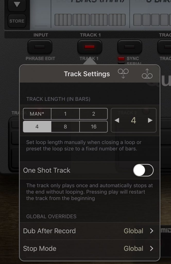 You get two independent looper tracks to work with with loops up to 16 bars in length.