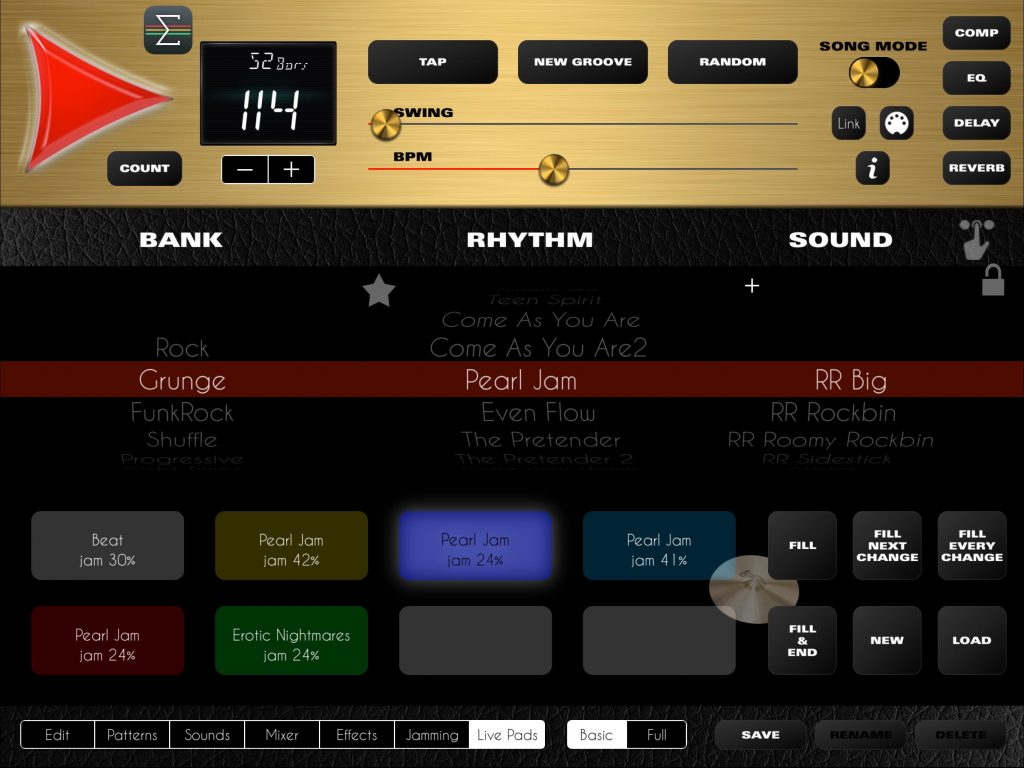Rock Drum Machine now has the Live Pads features Luis' has already introduced to some of his other drum apps.