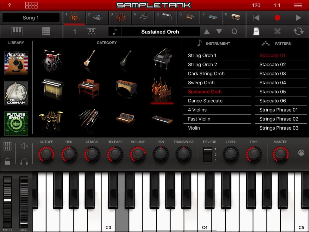 SampleTank's v.2 UI is very slick... and the latest updated has added some further sound set IAPs as seen far-left.