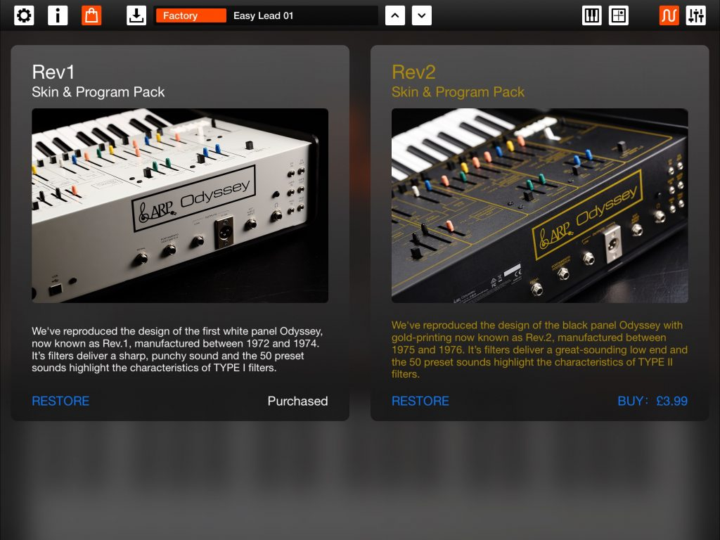 The two available IAPs provide presets based upon the different iterations of the original hardware synth.