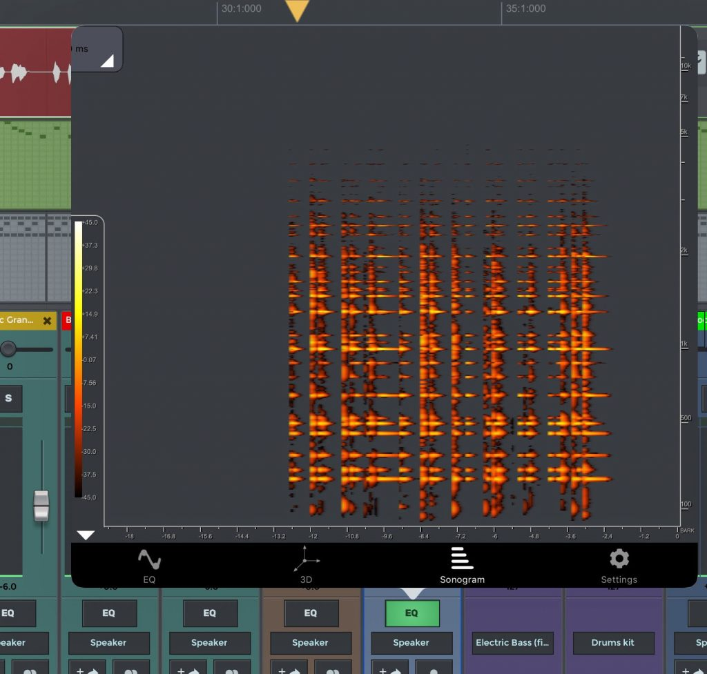 The EQ also offers other forms of visualisation for the audio data....
