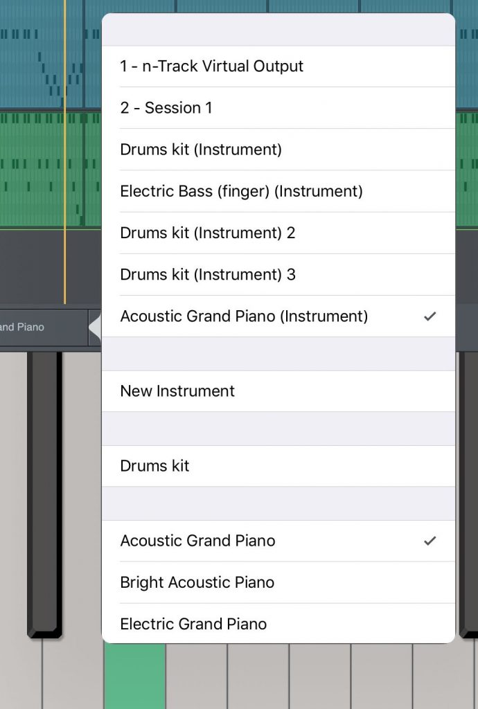 The app includes a set of basic GM-style sounds that can be used if you don't want to load up and 3rd-party virtual instruments or synths.