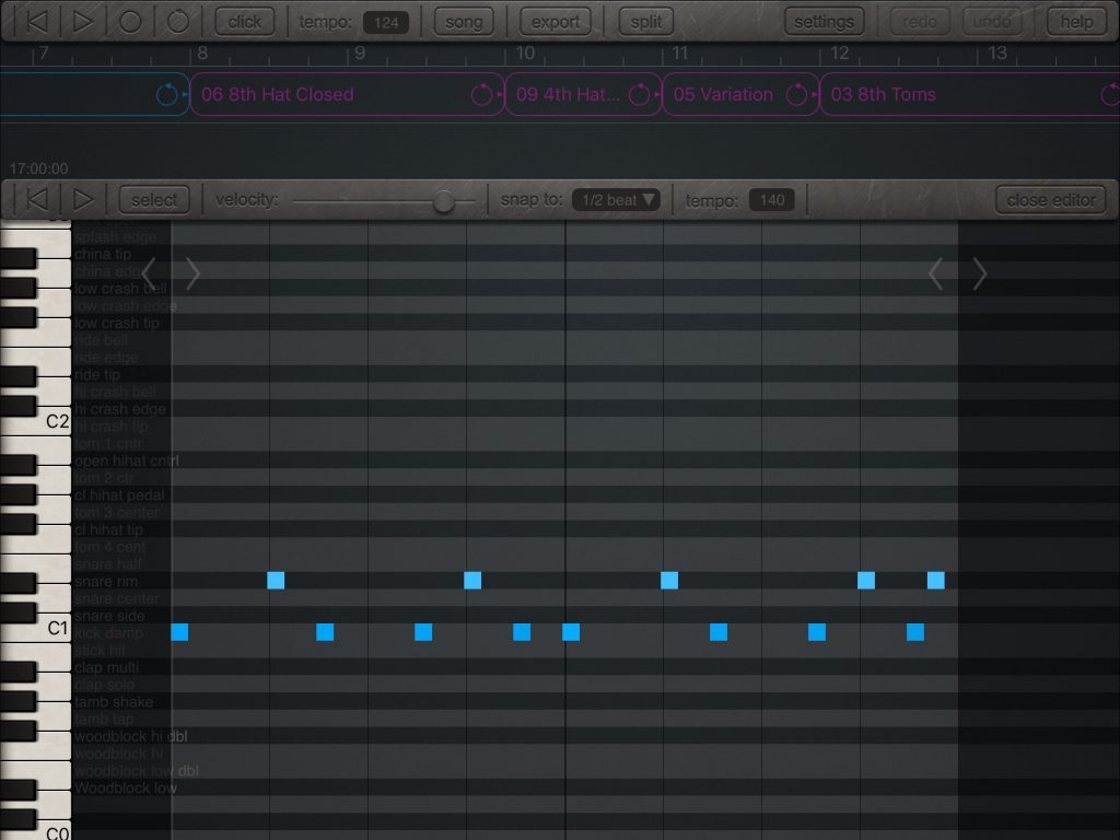 MIDI patterns can be edited within the app via a piano-roll style editing environment.