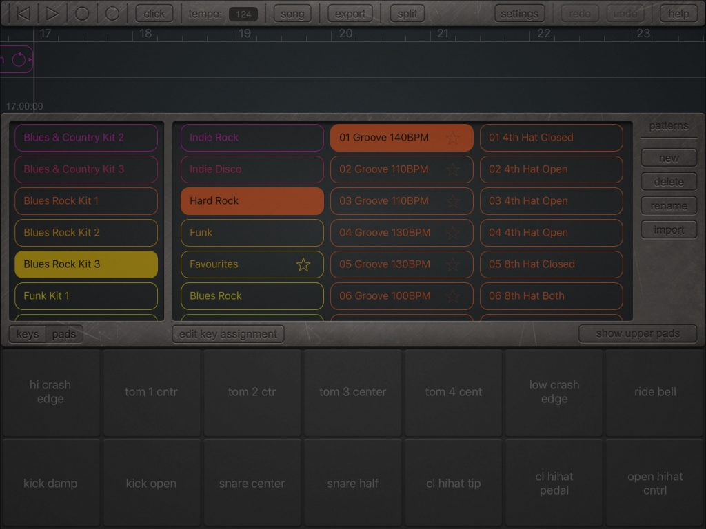 The app offers a 'pads' view for pattern programming if you prefer and an impressive collection of preset kits and MIDI drum patterns.