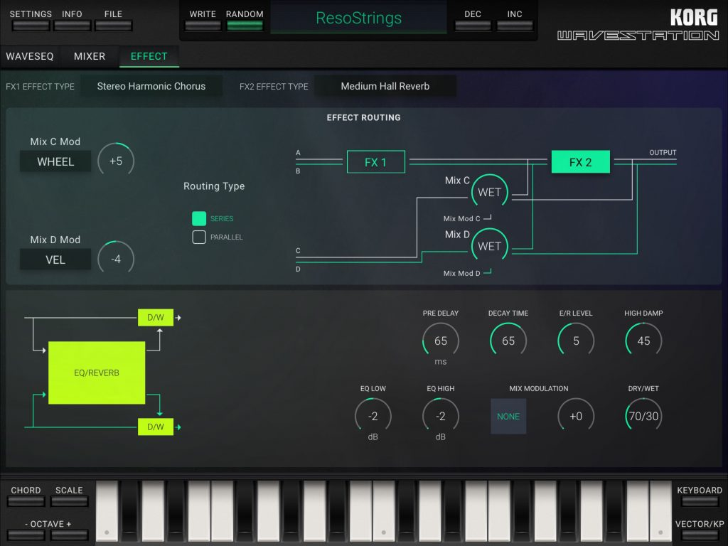 The app's sound engine include a range of effects and you can configure two of these to operate at the same time... but with plenty of control and routing options provided.
